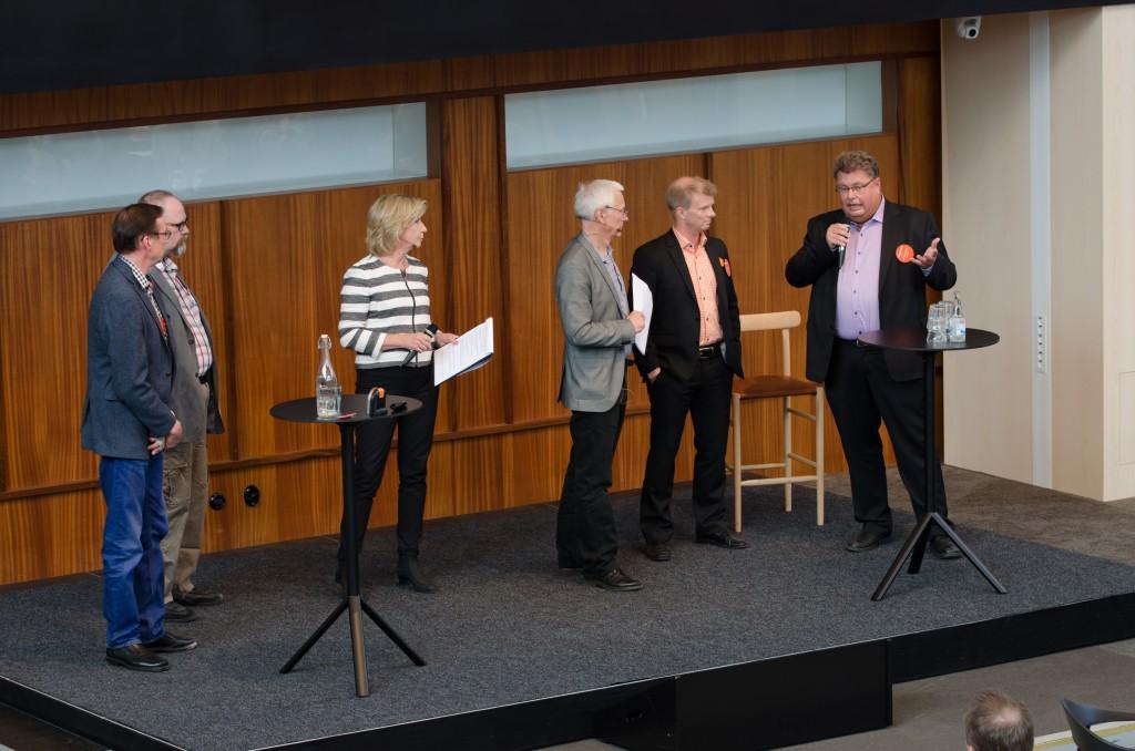 Mineralriket, Vetenskapens hus, Luleå 2014. Hans Wahlquist, Mobilaris. Martin Fredriksson, LTH-Kiruna cargo. Ulf Karlsson, Gefa System samt Anders Högström, IUC Norrbotten.