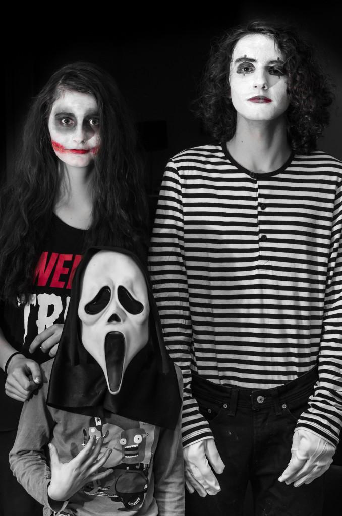 Några av de läskiga typerna som smyger omkring under halloween på nätterna i Sävast...