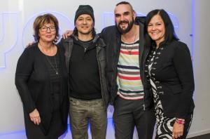 Ett av de första mötena i samarbetet med Austin. Från vänster Karin Klockare-Järlström (Yours), Troy Campbell (House of songs), idésprutan Niklas Wass (Wass Group) och Anna Degerman (Luleå kommun).