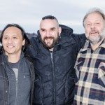 Troy Campell, Niklas Wass och Tim Linhart poserar i Norra hamn, Luleå.