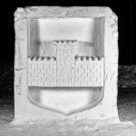 Bodens kommunvapen som snöskulptur på snöskulpturfestival i Boden.