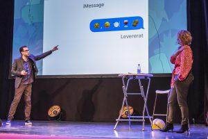 Niklas och Kattis förklarar användandet av emojis, kan lätt missförstås!