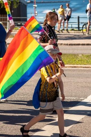 Luleå Pride 2019 i underbart väder. Till och med präster gick i tåget.