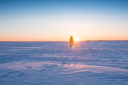 Luleå skärgård en tidig morgon i mars. Äntligen ett tillfälle jag skulle kunna tänka mig att åka skidor!