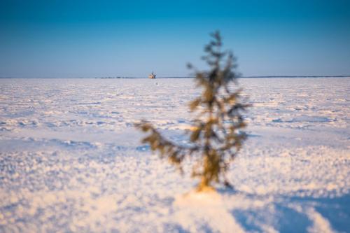 Luleå skärgård en tidig morgon i mars. Lite kontik känsla att se en båt långt, långt bort..