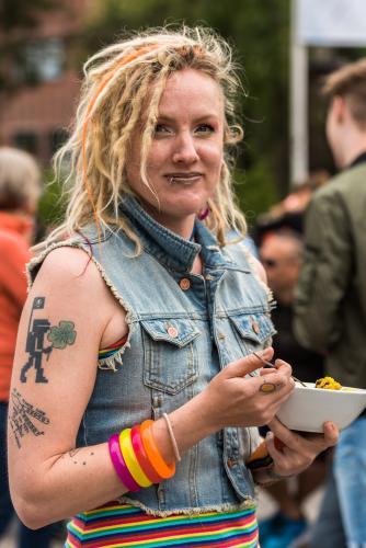 Attityd! Men lite skrämmande tatuering angående butterflies! Luleå Pride 2018.