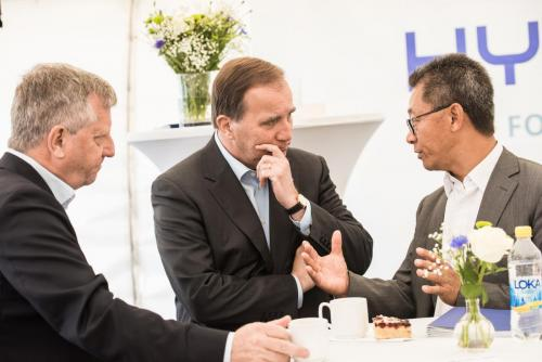 Stefan Löfven och Martin Pei, Teknisk direktör SSAB.