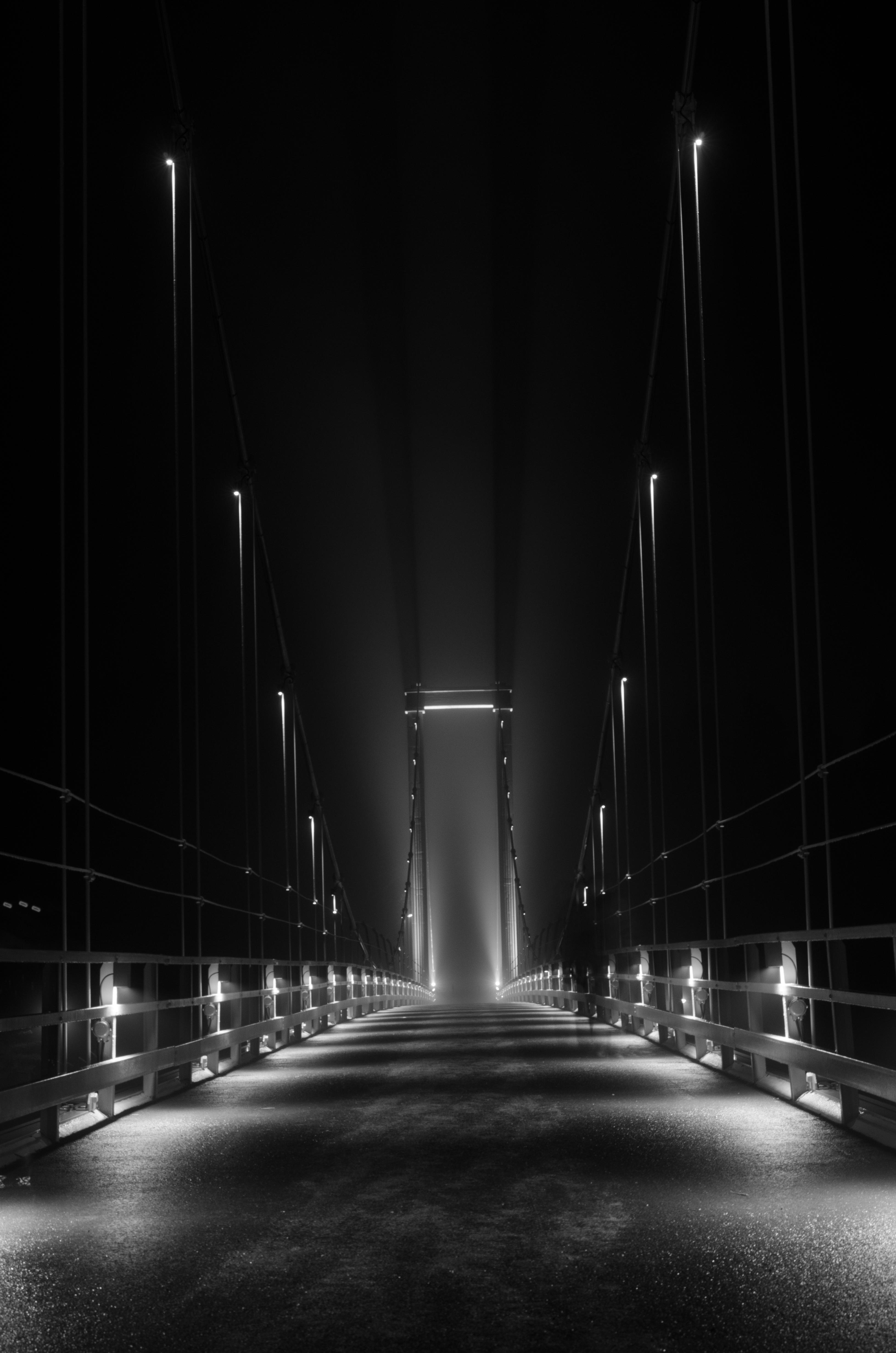 Svedjebron över Lule älv i Boden. Vacker bro med underbar belysning, och prisad för det!