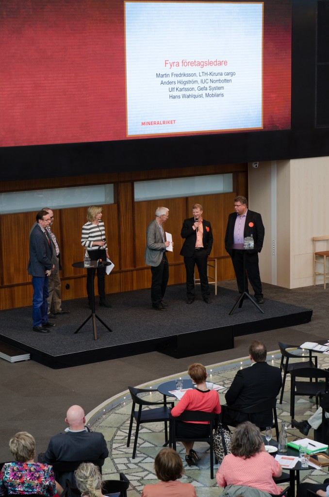 Mineralriket Luleå 2014. Hans Wahlquist, Mobilaris. Martin Fredriksson, LTH-Kiruna cargo. Ulf Karlsson, Gefa System samt Anders Högström, IUC Norrbotten.