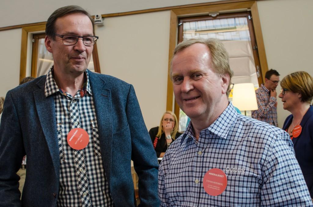 Mineralriket Luleå 2014 i Vetenskapens hus. Mingel med Ulf Carlsson, Gefa samt Stefan Nordberg, Outotec Sweden.
