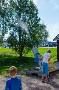 Teknikens hus, Luleå. Raketuppskjutning! Här flyger den just precis iväg!