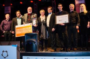 Vinnare i alla kategorier samlade på scenen, Bodens Näringslivsgala