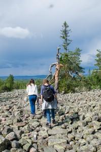 Otroligt stora fält av klappersten, rester från istiden finns här på Bälingeberget..