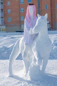 Bilder från invigningen av Bodens internationella snöskulpturfestival .
