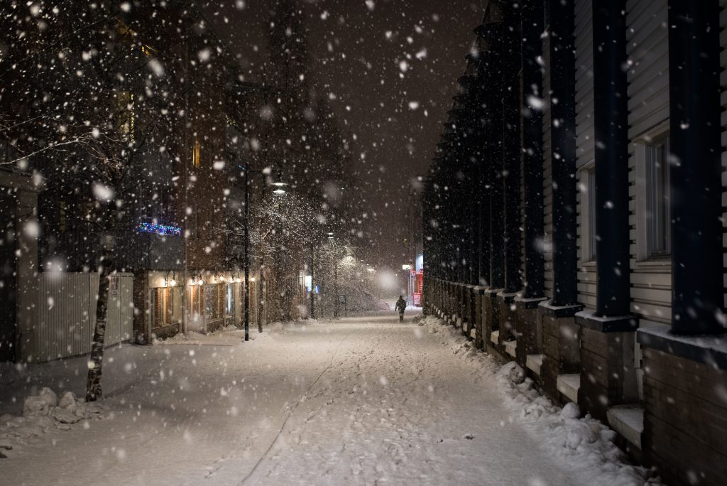 Snöstorm i Luleå