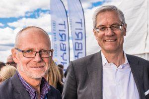 ? och Magnus Hall, Verkställande direktör och koncernchef, Vattenfall, på Hybrits invigning i Luleå.