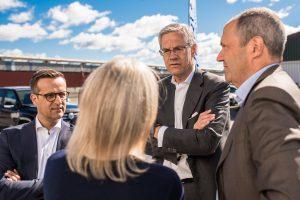 Bland annat Magnus Hall, Verkställande direktör och koncernchef, Vattenfall på Hybrits invigning i Luleå.