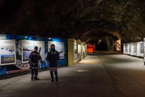 Besöksgruvan är en del i den riktiga gruvan, man känner vibbarna!