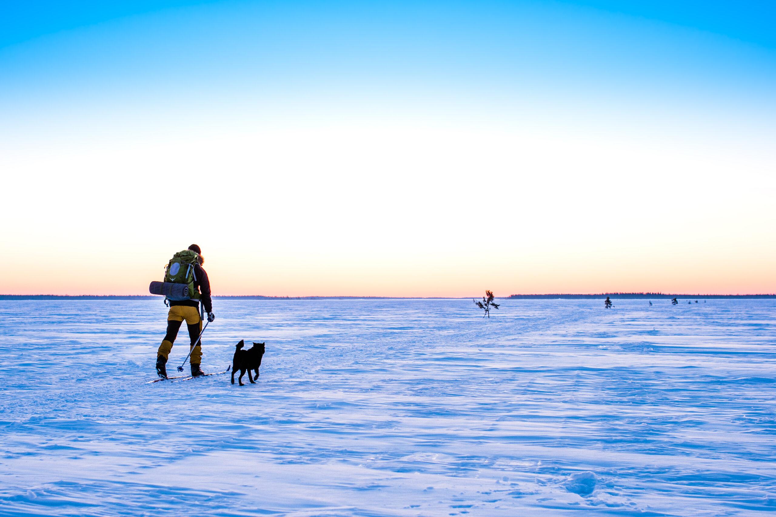 Vintertur på skidor. Lövskär, Luleå.