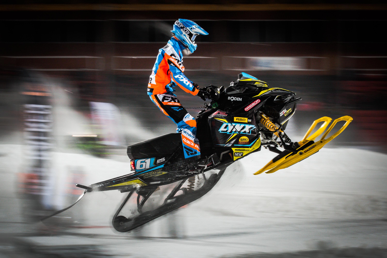 Skotercross på Boden Arena. Super-X 2018. 61 Emil Hansson, NMS Boden, Team Kjellin Motorsports. Lynx
