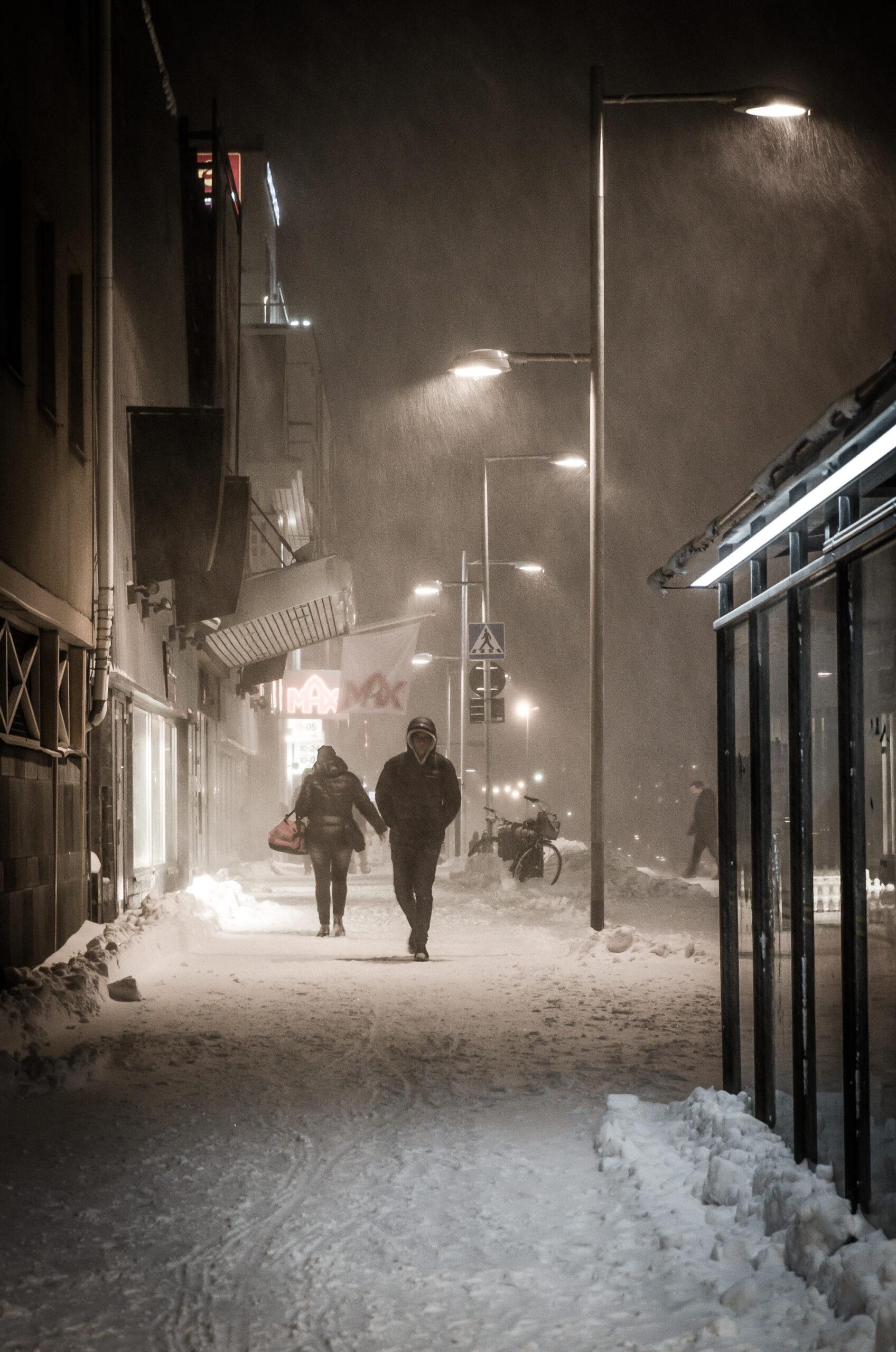 Snöoväder. Luleå.