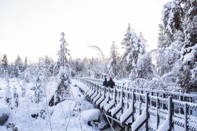 Storforsen i vinterskrud, väl skottade vägar!