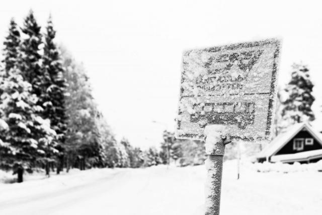 Frostbiten länstrafikenskylt.