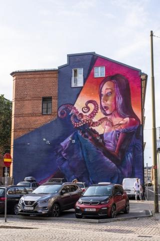 Grym väggmålning i Malmö. så snygg!