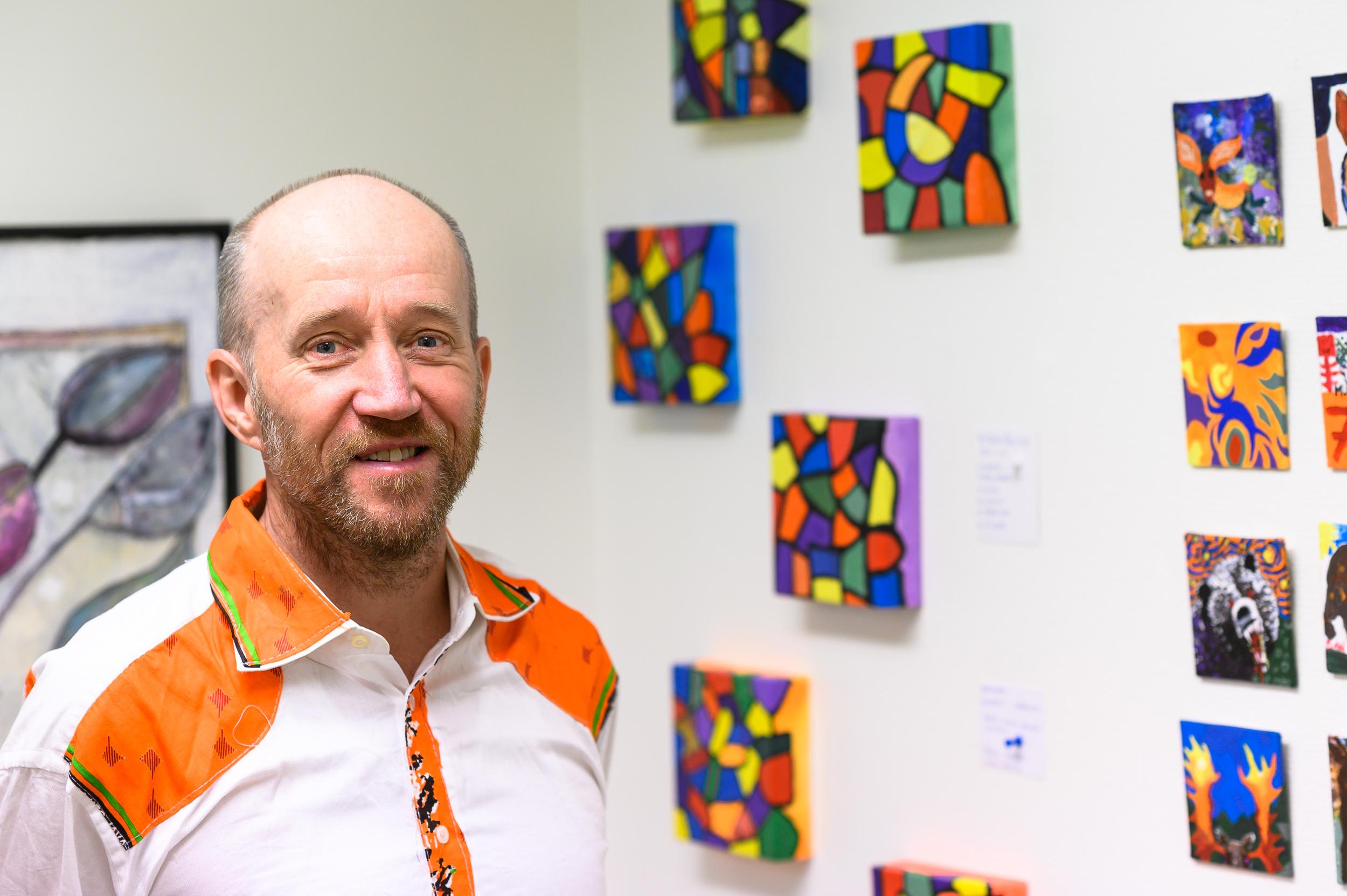 Kennet Lindquist var en av konstnärerna som ställde ut i Arvidsjaur.