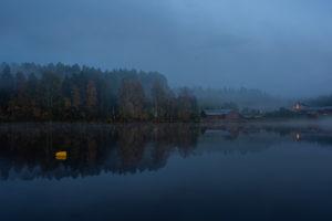 Kannusjärvi i skymning.