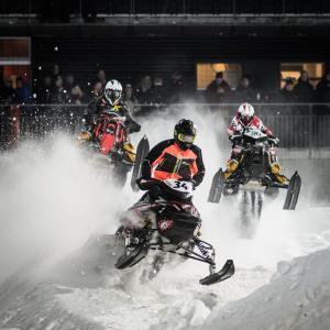 34 Filip Öhman, Tväråns IF. Lynx.  30 Lukas Johansson, Gargn Skotercross. Boden Arena Super-X 2018.