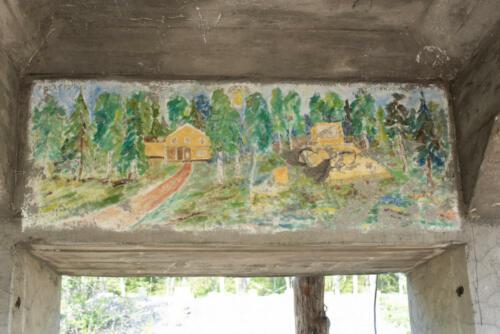 Laver gruvby. Ett konstverk har överlevt. Vem målade det? Det fanns i det gamla tornet.
