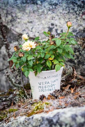 Utflykt till Öngårdsberget. Lite oväntat att hitta en blomkruka här uppe, men ett vackert syfte!