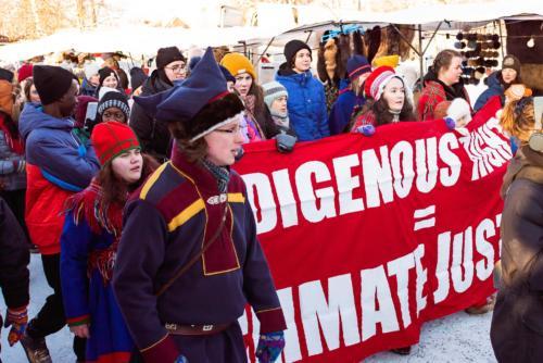 En marsch för klimatet, med bland annat Greta Thunberg. Jokkmokks marknad 2020.